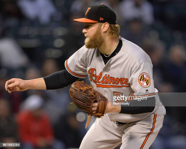 Andrew Cashner of the Baltimore Orioles pitches against the Chicago White Sox on May 21 2018 at Guaranteed Rate Field in Chicago Illinois Andrew...