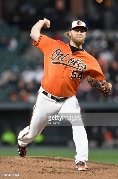Andrew Cashner of the Baltimore Orioles pitches against the Minnesota Twins at Oriole Park at Camden Yards on March 31 2018 in Baltimore Maryland