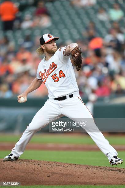 Andrew Cashner of the Baltimore Orioles pitches in the second inning during a baseball game against the New York Yankees at Oriole Park at Camden...