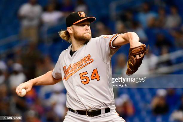 Andrew Cashner of the Baltimore Orioles throws a pitch in the first inning against the Tampa Bay Rays on August 8 2018 at Tropicana Field in St...
