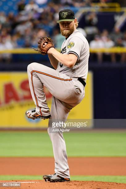 Andrew Cashner of the Baltimore Orioles throws a pitch in the first inning against the Tampa Bay Rays on May 26 2018 at Tropicana Field in St...