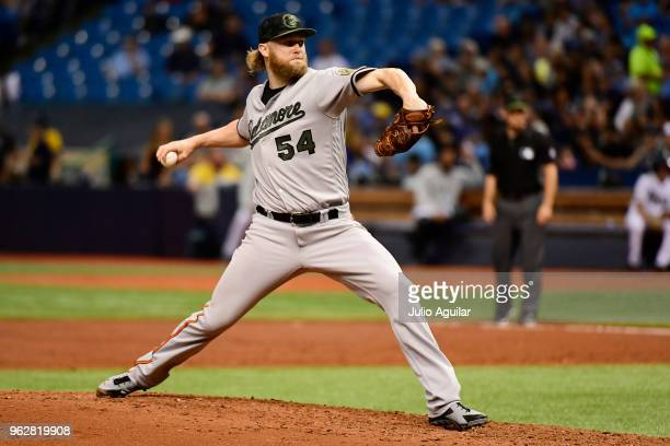 Andrew Cashner of the Baltimore Orioles throws a pitch in the third inning against the Tampa Bay Rays on May 26 2018 at Tropicana Field in St...