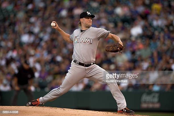 Andrew Cashner of the Miami Marlins pitches against the Colorado Rockies in the first inning of a game at Coors Field on August 6 2016 in Denver...