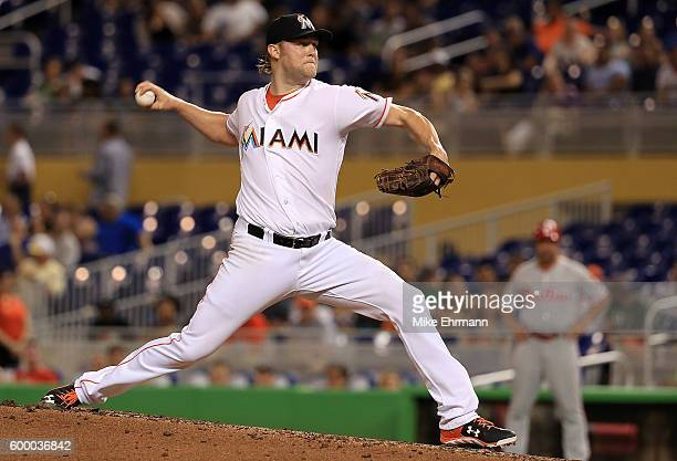 Andrew Cashner of the Miami Marlins pitches during a game against the Philadelphia Phillies at Marlins Park on September 7 2016 in Miami Florida