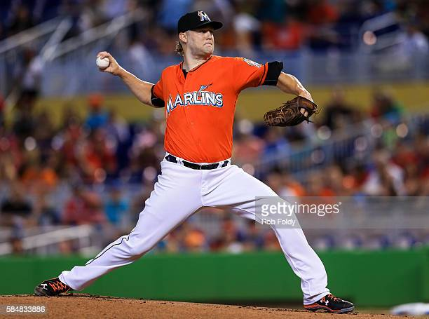 Andrew Cashner of the Miami Marlins pitches during the first inning of the game against the St Louis Cardinals at Marlins Park on July 31 2016 in...
