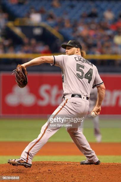 Andrew Cashner of the Orioles delivers a pitch to the plate during the MLB regular season game between the Baltimore Orioles and the Tampa Bay Rays...