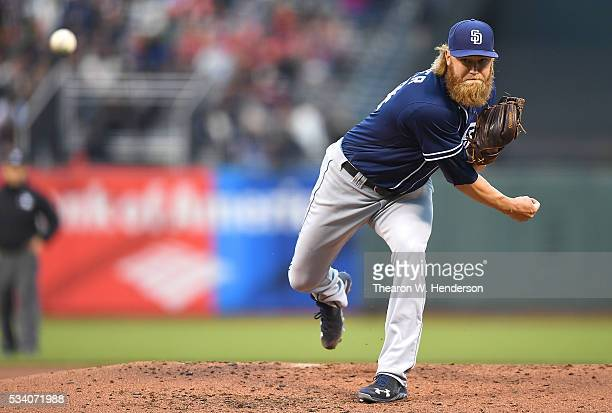 Andrew Cashner of the San Diego Padres pitches against the San Francisco Giants in the bottom of the second inning at ATT Park on May 24 2016 in San...