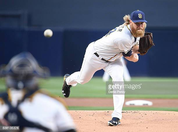 Andrew Cashner of the San Diego Padres pitches during the first inning of a baseball game against the Colorado Rockies at PETCO Park on June 4 2016...