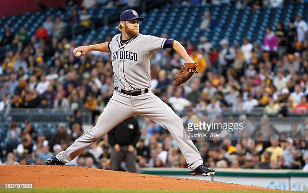 Andrew Cashner of the San Diego Padres pitches in the first inning against the Pittsburgh Pirates during the game on September 16 2013 at PNC Park in...