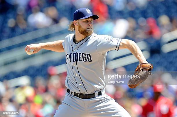 Andrew Cashner of the San Diego Padres pitches in the first inning against the Washington Nationals at Nationals Park on April 26 2014 in Washington...
