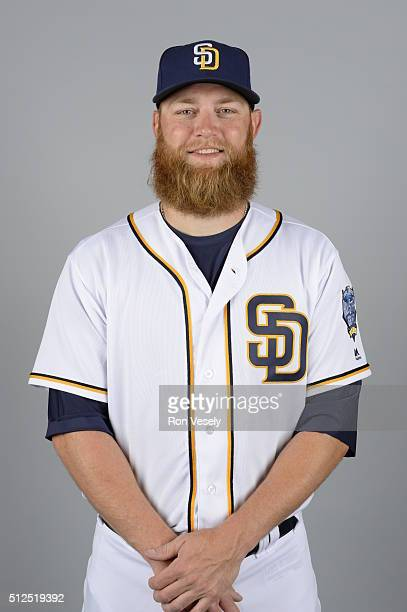 Andrew Cashner of the San Diego Padres poses during Photo Day on Friday February 26 2016 at Peoria Stadium in Peoria Arizona