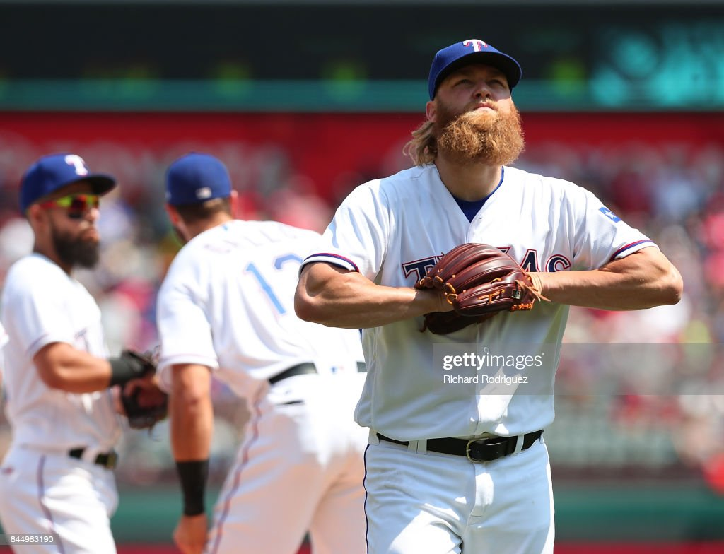 Andrew Cashner #54 of the Texas Rangers leaves the game in the 8th inning after hitting Todd Frazier of the New York Yankees with a pitch at Globe Life Park in Arlington on September 9, 2017 in Arlington, Texas.