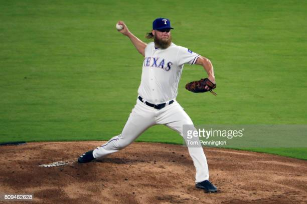 Andrew Cashner of the Texas Rangers pitches against the Boston Red Sox in the top of the second inning at Globe Life Park in Arlington on July 5 2017...