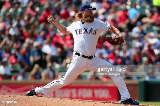 Andrew Cashner of the Texas Rangers pitches against the New York Yankees at Globe Life Park in Arlington on September 9 2017 in Arlington Texas