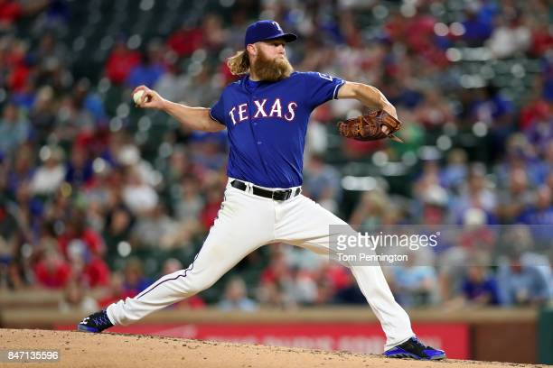 Andrew Cashner of the Texas Rangers pitches against the Seattle Mariners in the top of the fourth inning at Globe Life Park in Arlington on September...