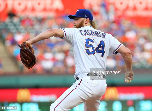 Andrew Cashner of the Texas Rangers throws in the first inning against the Baltimore Orioles at Globe Life Park in Arlington on July 28 2017 in...