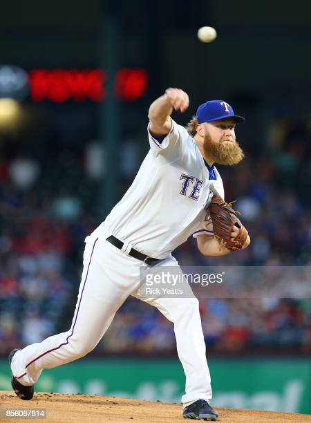 Andrew Cashner of the Texas Rangers throws in the first inning against the Oakland Athletics at Globe Life Park in Arlington on September 30 2017 in...