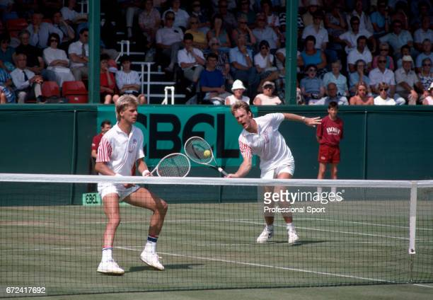 Andrew Castle and Nick Brown of Great Britain in Davis Cup action against Argentina in Eastbourne circa July 1989 Argentina won in the World Group...