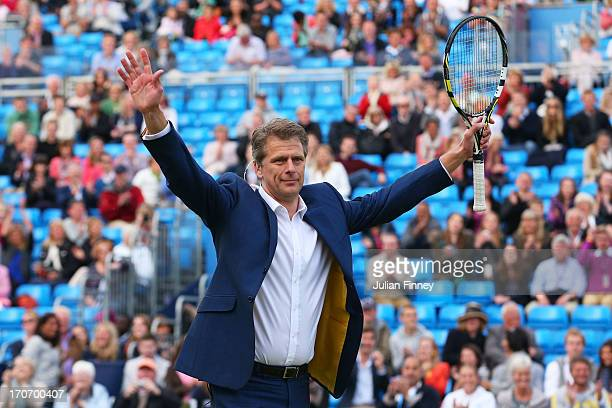 Andrew Castle in action during the Rally Against Cancer charity match on day seven of the AEGON Championships at Queens Club on June16 2013 in London...