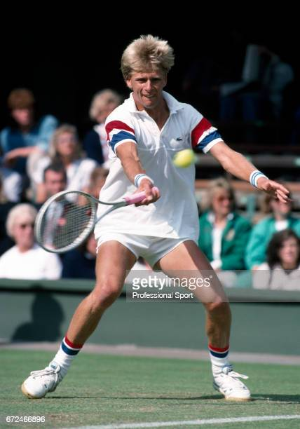 Andrew Castle of Great Britian in action at Wimbledon on 26th June 1989 Castle was defeated in the first round by Kevin Curren of the USA