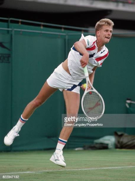 Andrew Castle of Great Britain in action during a men's singles match at the Wimbledon Lawn Tennis Championships in London circa June 1987 Castle was...