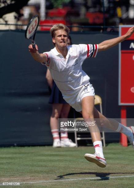 Andrew Castle of Great Britian in action at the Stella Artois Tennis Championships at the Queen's Club in London circa June 1986 Castle was defeated...