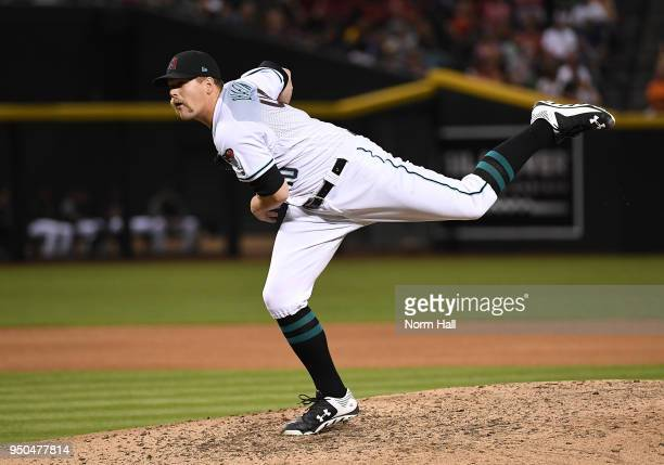 Andrew Chafin of the Arizona Diamondbacks delivers a pitch against the San Diego Padres at Chase Field on April 20 2018 in Phoenix Arizona