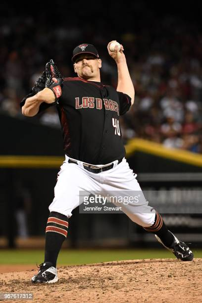 Andrew Chafin of the Arizona Diamondbacks delivers a pitch in the sixth inning of the MLB game against the Houston Astros at Chase Field on May 5...