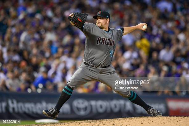 Andrew Chafin of the Arizona Diamondbacks pitches against the Colorado Rockies at Coors Field on June 9 2018 in Denver Colorado