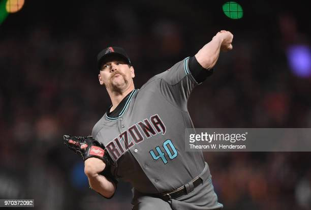 Andrew Chafin of the Arizona Diamondbacks pitches against the San Francisco Giants in the bottom of the seventh inning at ATT Park on June 5 2018 in...