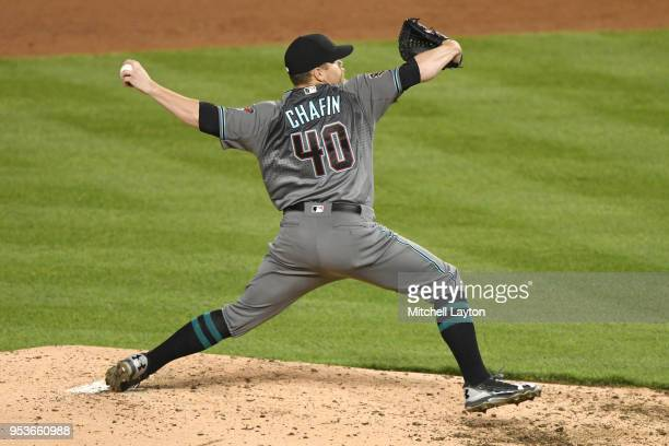 Andrew Chafin of the Arizona Diamondbacks pitches during a baseball game against the Washington Nationals at Nationals Park on April 27 2018 in...