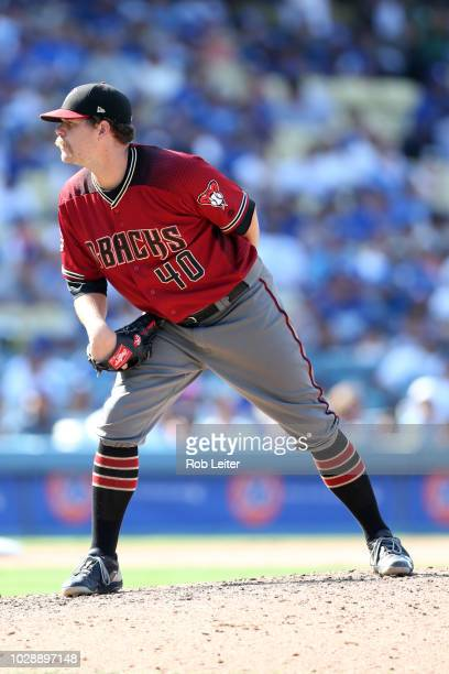 Andrew Chafin of the Arizona Diamondbacks pitches during the game against the Los Angeles Dodgers at Dodger Stadium on Sunday September 2 2018 in Los...