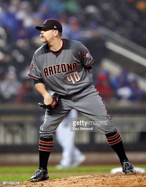 Andrew Chafin of the Arizona Diamondbacks pitches in relief in the 8th inning in an MLB baseball game against the New York Mets on May 19 2018 in the...