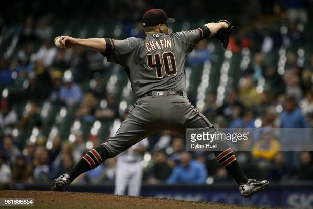 Andrew Chafin of the Arizona Diamondbacks pitches in the eighth inning against the Milwaukee Brewers at the Miller Park on May 21 2018 in Milwaukee...