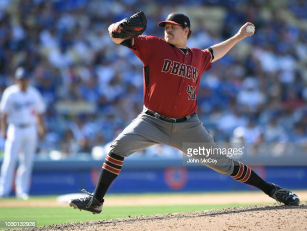 Andrew Chafin of the Arizona Diamondbacks pitches to the Los Angeles Dodgers in the nineth inning at Dodger Stadium on September 2 2018 in Los...