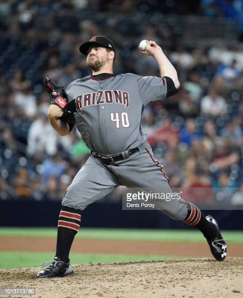 Andrew Chafin of the Arizona Diamondbacks plays during a baseball game against the San Diego Padres PETCO Park on July 28 2018 in San Diego California