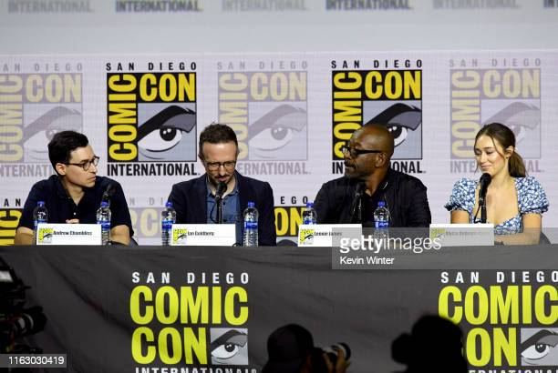 """Andrew Chambliss, Ian Goldberg, Lennie James and Alycia Debnam-Curry speak at the """"Fear The Walking Dead"""" Panel during 2019 Comic-Con International..."""