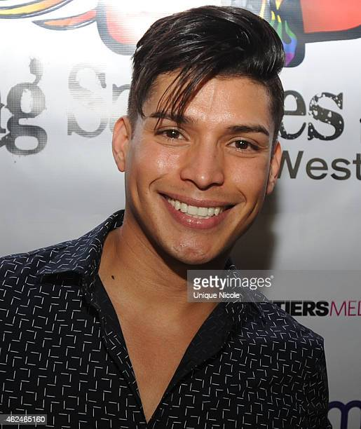 Andrew Christian Model arrives at Flaming Saddles grand opening on January 28 2015 in West Hollywood California