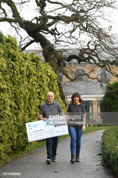 Andrew Clark from Boston Lincolnshire with his partner Trisha Fairhurst celebrates his £7680680 EuroMillions jackpot win from the draw on Friday 2...