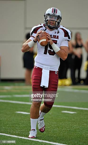 Andrew Clifford of the South Carolina Gamecocks warms up prior to a game against the Vanderbilt Commodores at Vanderbilt Stadium on August 30, 2012...