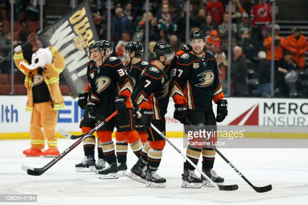 Andrew Cogliano of the Anaheim Ducks and Nick Ritchie of the Anaheim Ducks celebrate the Ducks 65 win over the New Jersey Devils following a shootout...