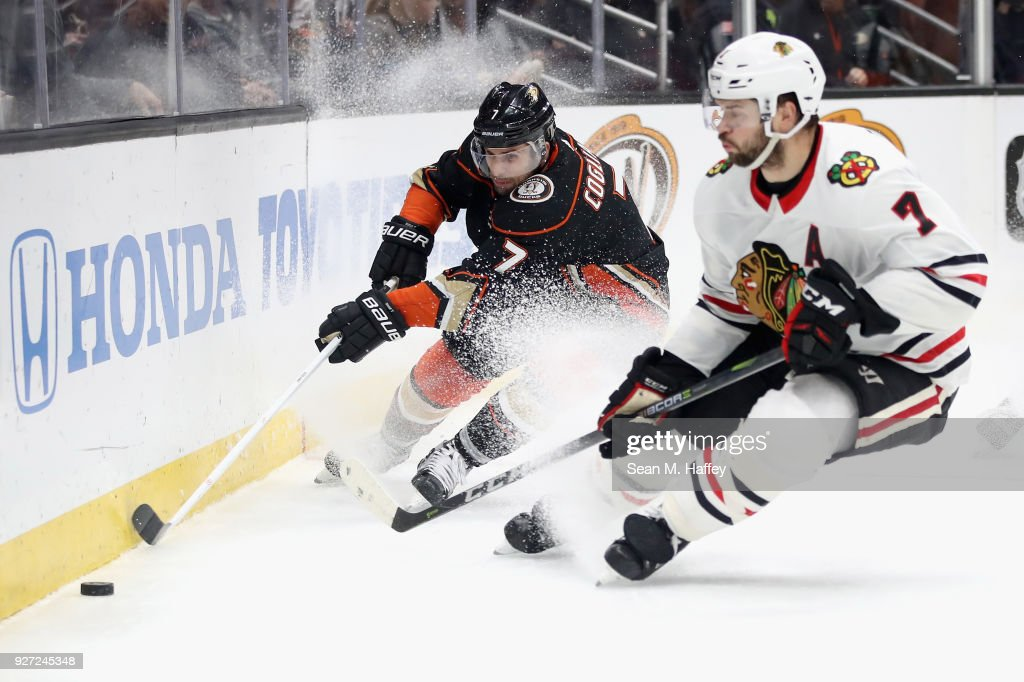 1b3dc5de5 Andrew Cogliano  7 of the Anaheim Ducks battles Brent Seabrook  7 of the  Chicago