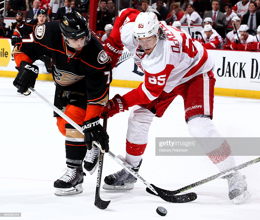 Andrew Cogliano #7 of the Anaheim Ducks battles for the puck against Danny DeKeyser #65 of the Detroit Red Wings on February 23, 2015 at Honda Center in Anaheim, California.