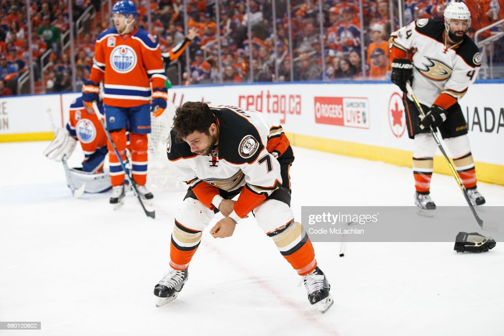 Andrew Cogliano #7 of the Anaheim Ducks bleeds after a collision against the Edmonton Oilers in Game Six of the Western Conference Second Round during the 2017 NHL Stanley Cup Playoffs at Rogers Place on May 7, 2017 in Edmonton, Alberta, Canada.