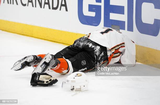 Andrew Cogliano of the Anaheim Ducks deals with an injury while playing against the Edmonton Oilers in Game Six of the Western Conference Second...