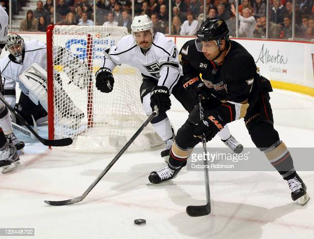 Andrew Cogliano of the Anaheim Ducks handles the puck against Drew Doughty of the Los Angeles Kings during the game on November 17 2011 at Honda...