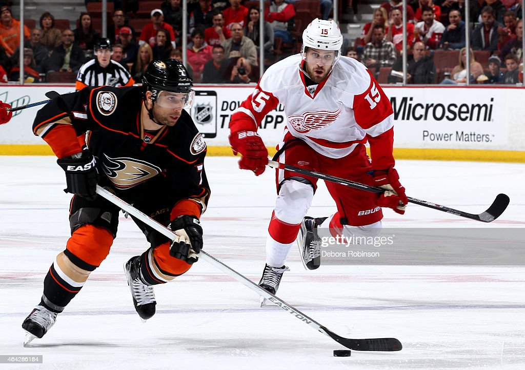 Andrew Cogliano #7 of the Anaheim Ducks handles the puck against Riley Sheahan #15 of the Detroit Red Wings on February 23, 2015 at Honda Center in Anaheim, California.