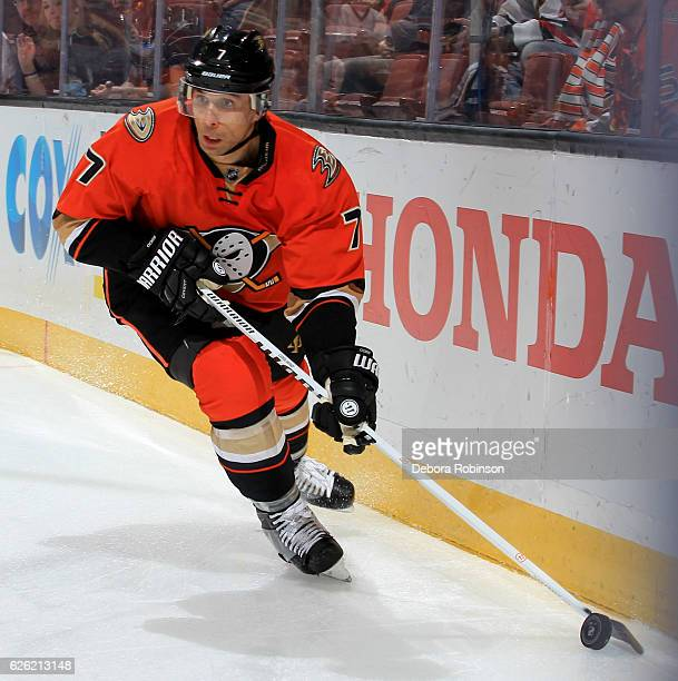 Andrew Cogliano of the Anaheim Ducks handles the puck during the game against the Chicago Blackhawks on November 25 2016 at Honda Center in Anaheim...