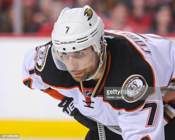 Andrew Cogliano of the Anaheim Ducks in action against the Calgary Flames in Game Three of the Western Conference First Round during the 2017 NHL...