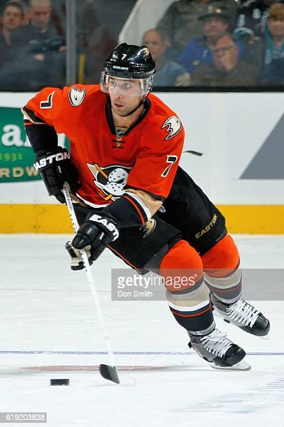 Andrew Cogliano of the Anaheim Ducks moves the puck during a NHL game against the San Jose Sharks at SAP Center at San Jose on October 25 2016 in San...